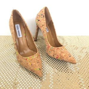 Steve Madden Womens Color Splattered Cork Heels 7M